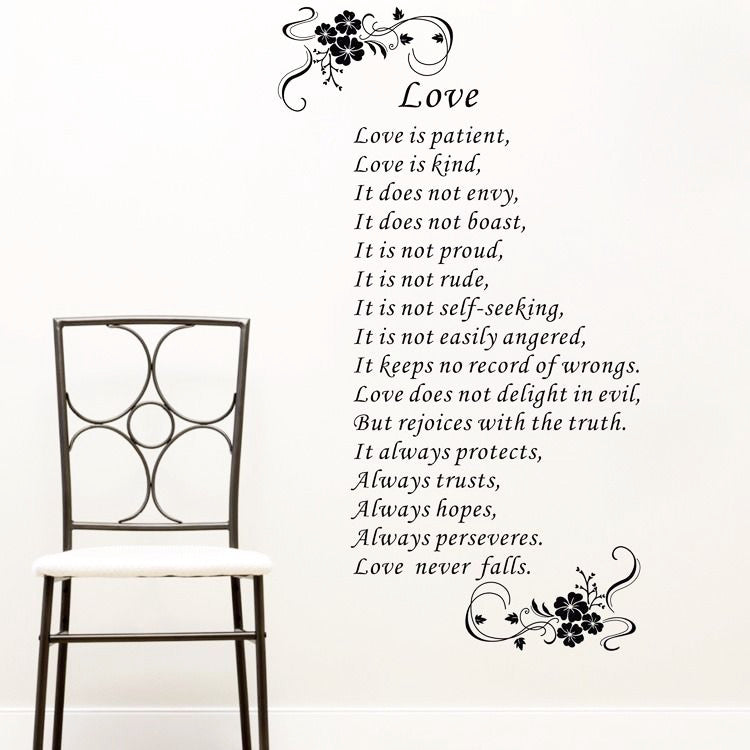 Love is Patient & Kind (1 Cor. 13 Wall Decal Sticker)