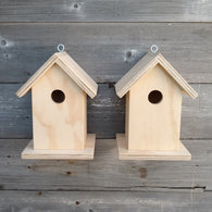 Set of 2 Unfinished Birdhouse.  USA Handmade.  Ready to paint DIY birdhouse.