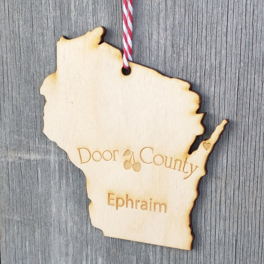 Ephraim Wisconsin State Heart Ornament