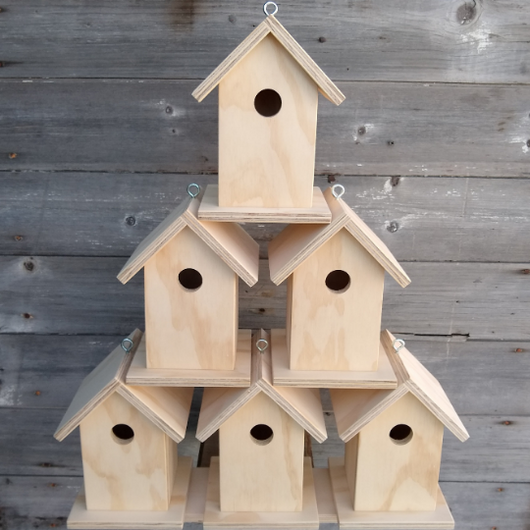 Set of 6 Unfinished Birdhouse.  USA Handmade.  Ready to paint DIY birdhouse.
