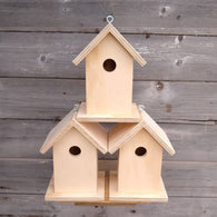 Set of 3 Unfinished Birdhouse.  USA Handmade.  Ready to paint DIY birdhouse.