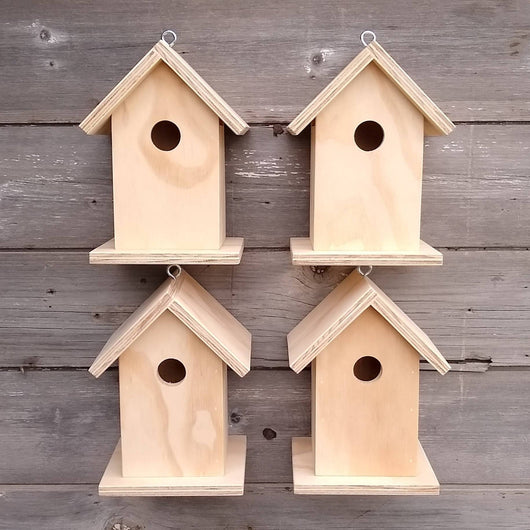Set of 4 Unfinished Birdhouse.  USA Handmade.  Ready to paint DIY birdhouse.
