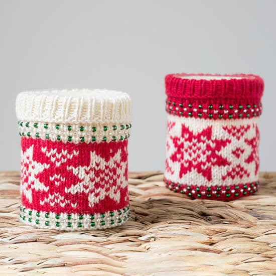 Festive candle cosy knitting kit