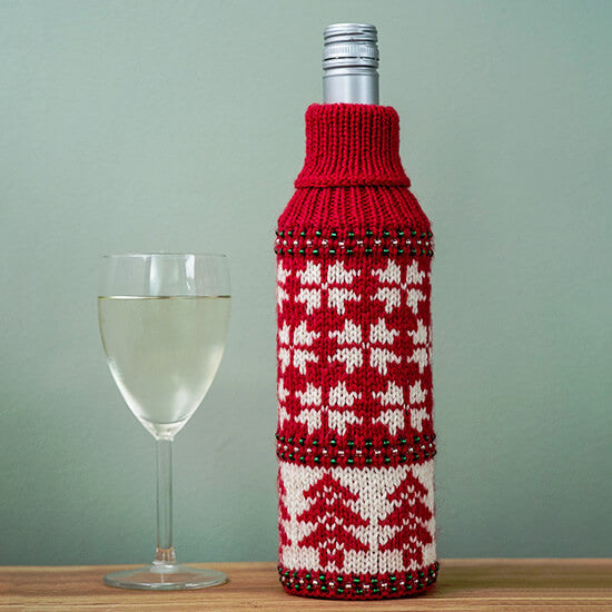 Festive wine bottle cosy knitting kit