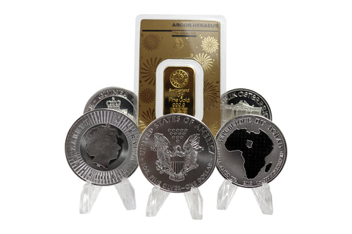 Various Silver coins and one Gold bar