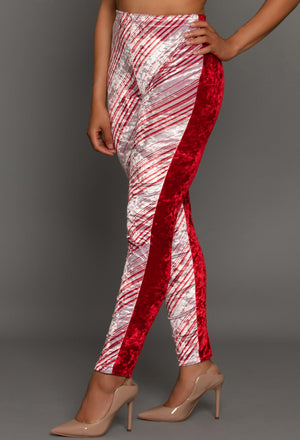 Candylicious Candy Cane Stripe Holiday Legging