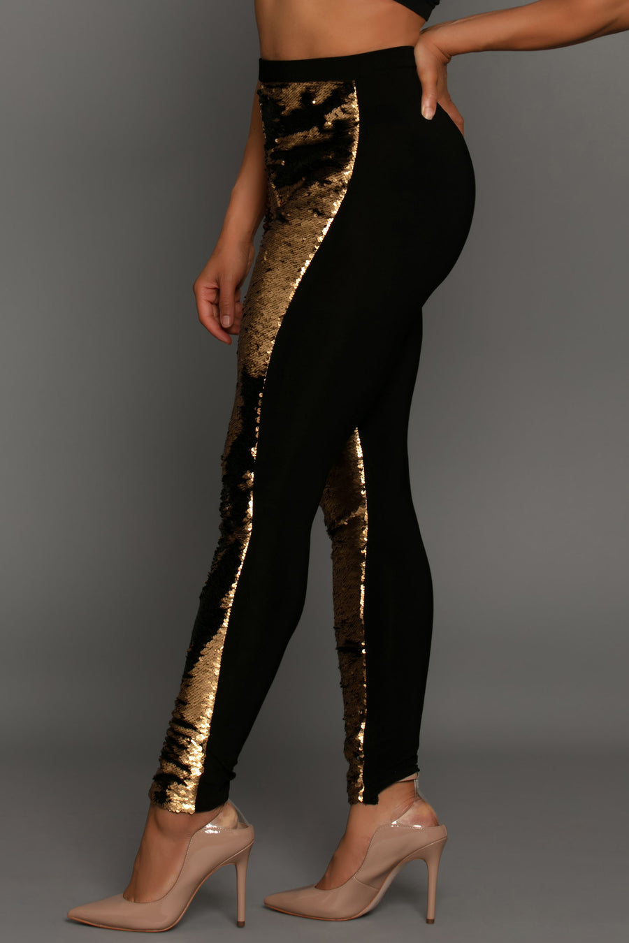 Flip Sequin Dual Tone Legging Gold