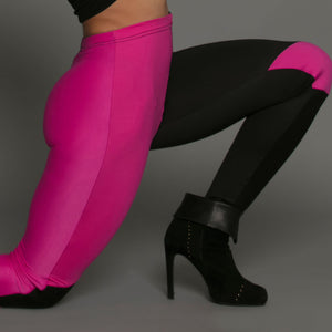 Dual Tone Yoga Leggings With Built In Knee Pads