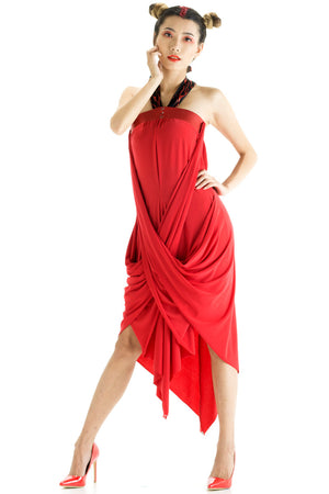 Red Flame Convertible Snap Dress