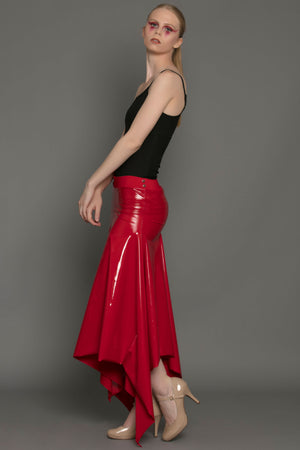 Liquid Vinyl Convertible Snap Dress Red