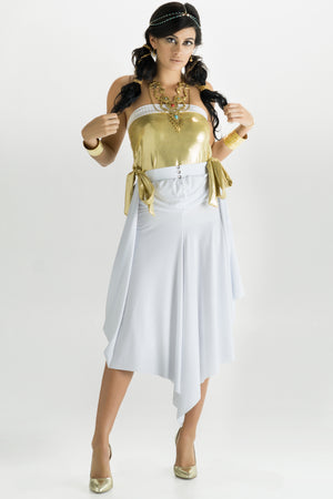White & Gold Convertible Snap Dress