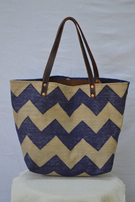 Blue Chevron Dhurrie bag
