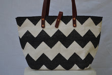 Black and White  Chevron Dhurrie bag