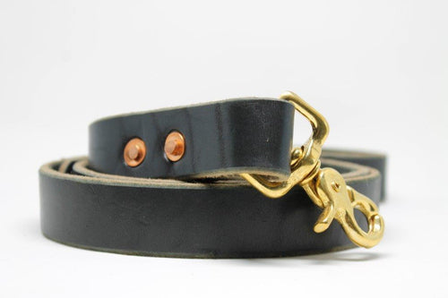 Black Leather Dog Leash with Brass Lobster clasp