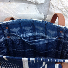 Phoebe Tote Bag with Indigo Mudcloth and Leather straps