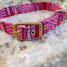 Dog Collar with a Brass Buckle made with woven textiles