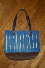 Indigo Mudcloth tote bag with fringe key fob has an inside pocket and d Ring