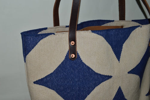Blue and off white Geometric Dhurrie Market Bag  with Leather Straps