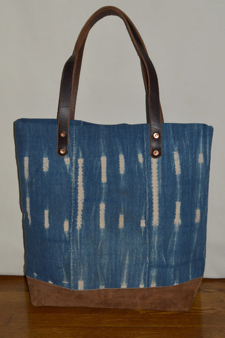 Indigo Mudcloth tote bag  has an inside pocket and d Ring