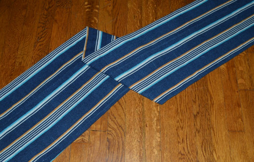 Vintage African Indigo Mudcloth from Mali with stripes of light blue and gold
