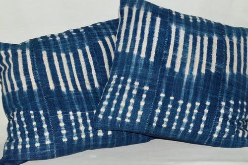 African Indigo Mudcloth  pillow with solid navy backing and covered zipper
