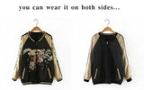 Golden Crane and Floral Bomber Jacket