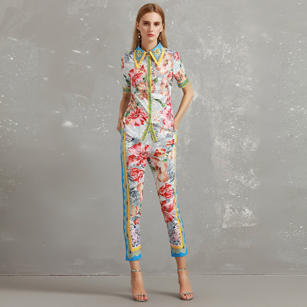Floral Two Piece Short Sleeve Shirt 3/4 Pencil Pants Set