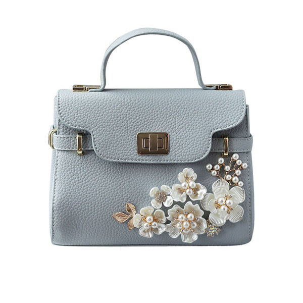 Flowers and Pearls Pastel Handbag