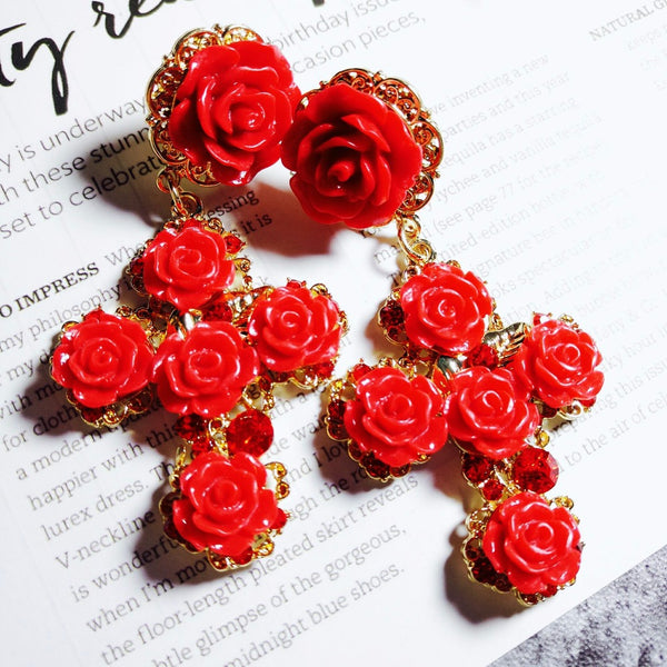 Baroque Red Roses Cross Earrings