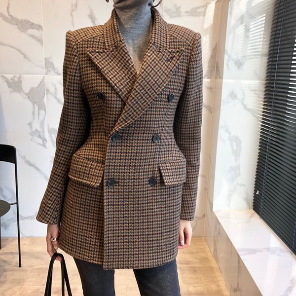 Sculpted Blazer Jacket in Camel Plaid or Chocolate Brown Houndstooth