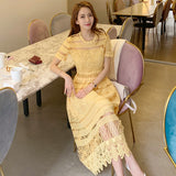 Elegant Yellow Lace Dress