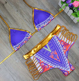African Print Two Piece Swimsuit with Golden Trim