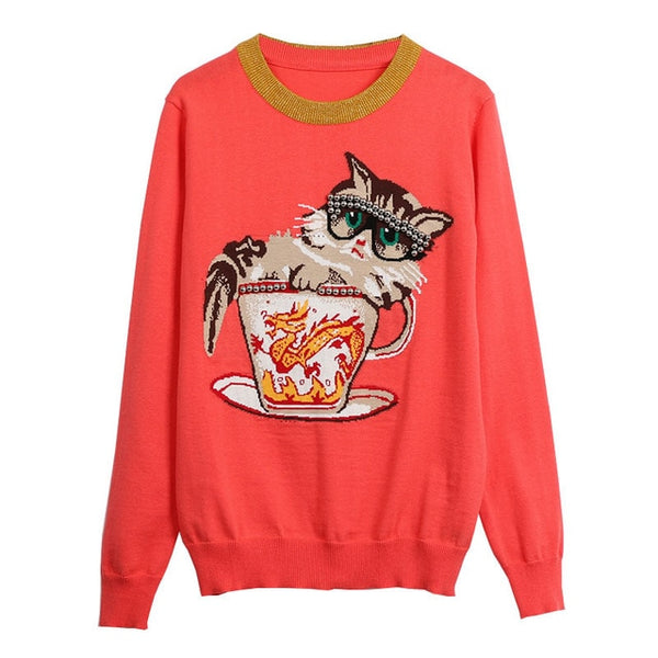 Coral Sweater with Cute Kitty in a Teacup