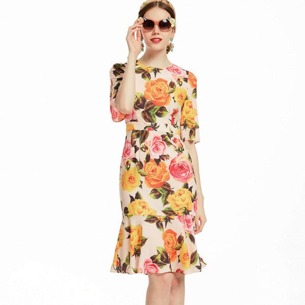 Rose Print Dress with Ruffle Hem