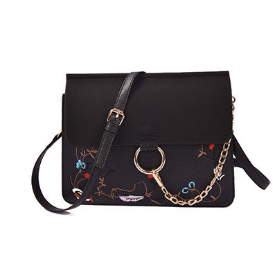 Embroidered Handbag with Tone on Tone Flap