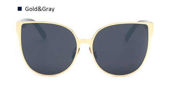 Oversize Metal Rim Cat Eye Sunglasses