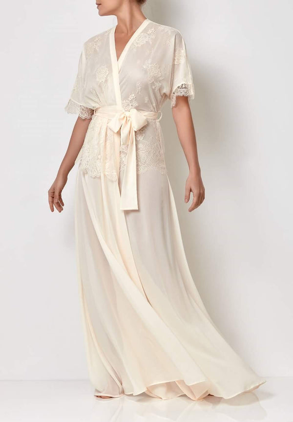 Full length dressing gown with lace top, silk bridal robes in ivory with belt