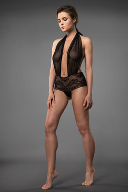 Black lace bodysuit plus size lingerie bodysuit backless with see-through crotchless lace knickers