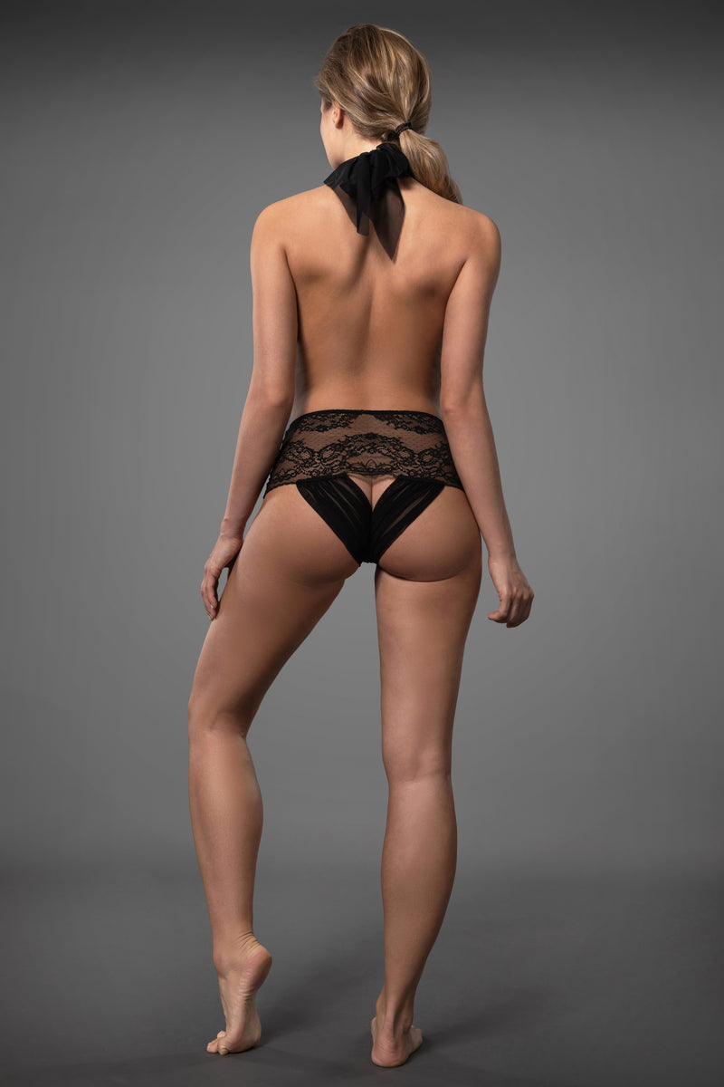 Black lace bodysuit plus size lingerie bodysuit backless with see-through crotchless lace knickers.