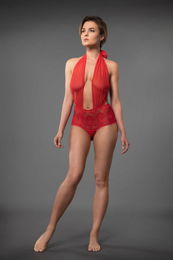 SENSUAL LACE BODYSUIT RED