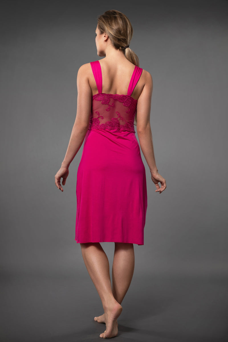 Knee length sexy night dress with sexy transparent lace chest line in pink made of micro modal soft material