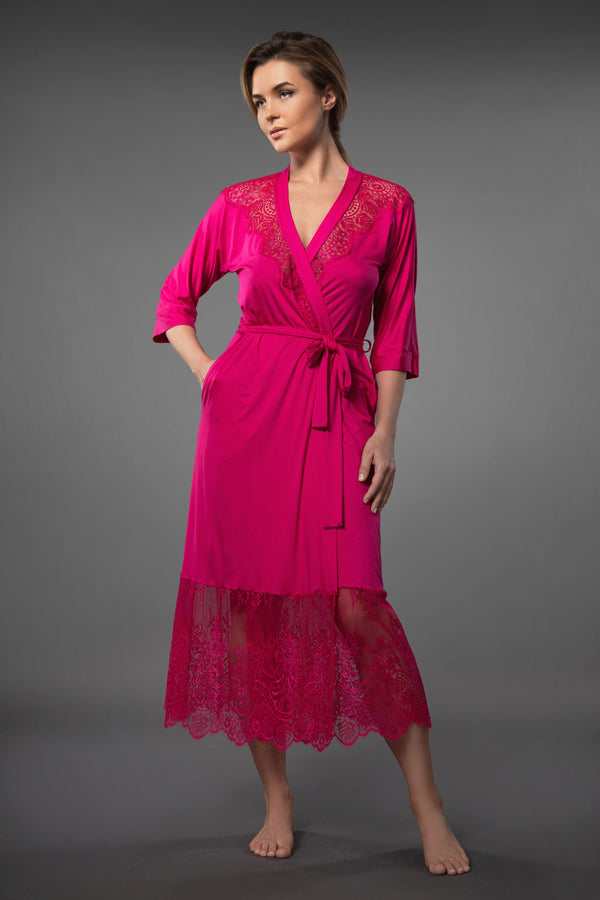 ELEGANT LONG LACEY DRESSING GOWN WITH LACE PINK ROSE