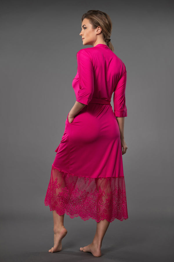 Pink summer dressing gown with lace, extra long dressing gown with side pockets and matching belt