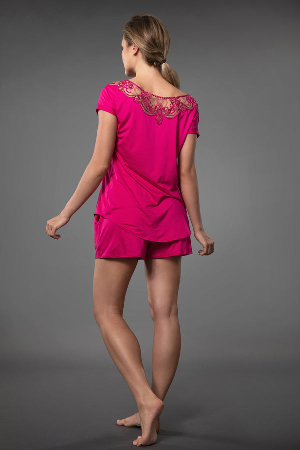 Pink plus size ladies nightwear short sleeve top with embroidery and pink summery pajama short with pockets