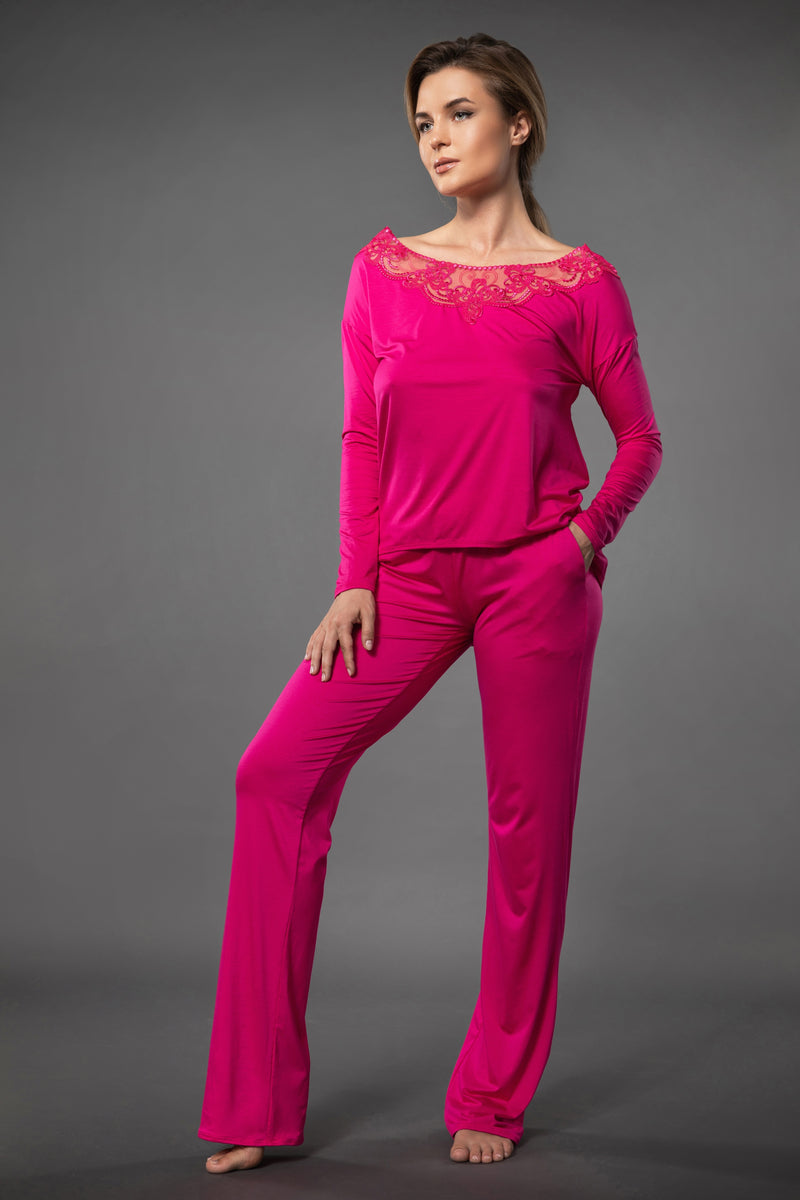 Light and summery pink ladies pjs loose fit top with embroidery and wide leg palazzo pants nightwear with side pockets