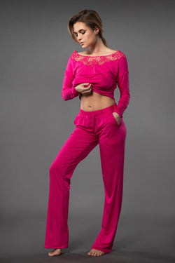 Light and summery pink ladies sleepwear loose fit pants with side pockets