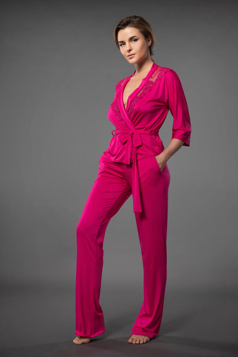 Ladies luxury nightwear lace top blazer with belt in pink and light pajama bottoms with pockets