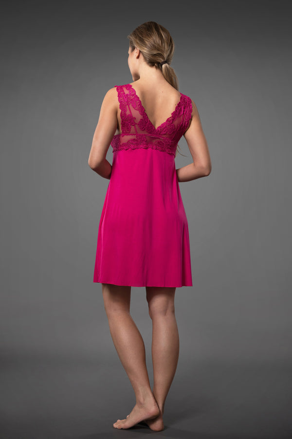 Fresh and summery pink mini babydoll nightie with transparent lace chest line above made of micro modal