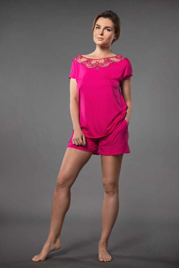 Pink summery ladies pjs set with embroidered sleeveless tops and pajama shorts with pockets