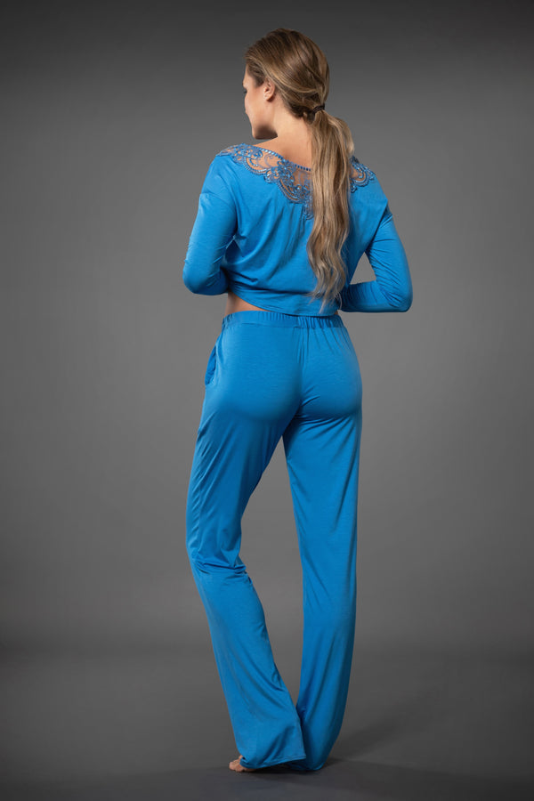 Ladies lace nightwear palazzo pants with pockets in light blue colour
